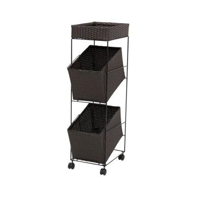 持ち運びできるラタン調のバスケットワゴン(収納スペース付き) サニタリーラック・チェスト, Sanitary storages(ニッセン、nissen)