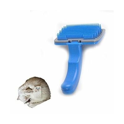 Fosinz ペット用ブラシ 合成ゴム ワンプッシュ 中小型犬 猫用 ノミ防止 抜け毛取り 長毛短毛兼用 ブラッシング