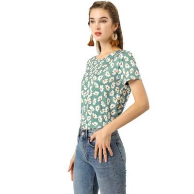 uxcell Allegra K 花柄 ブラウス トップス tシャツ 半袖 丸首 カジュアルレディース シアン S