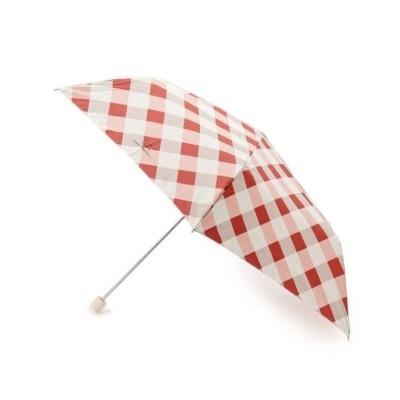 【グローブ】 Wpc.バイアスチェックスリム折り畳み傘 レディース レッド 00 grove