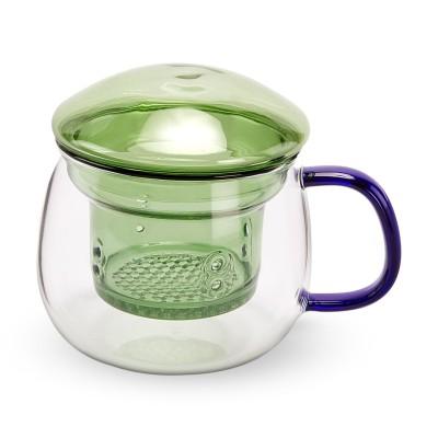 マルチカラー ガラスマグカップ グリーン/ブルー