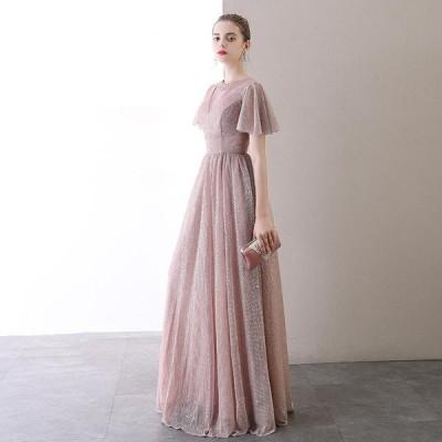 ロングドレス 結婚式 ウェディングドレス カラードレス Aライン パーティードレス 大きいサイズ 演奏会 お花嫁ドレス 姫系 二次会ドレス イブニングドレス