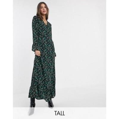ワイ エー エス Y.A.S Tall レディース ワンピース ラップドレス マキシ丈 Wrap Maxi Dress With Ruffle Hem In Mixed Ditsy Floral マルチカラー