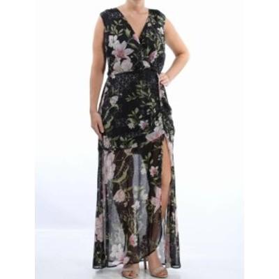 GUESS ゲス ファッション ドレス Guess Womens Black Size LARGE L Sheer Split Surplice Maxi Dress
