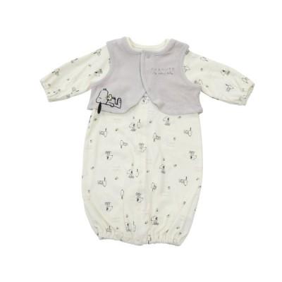 ベビーザらス限定 SNOOPY 新生児2WAYドレス ベスト付き スヌーピー (ナチュラル×50-70cm)
