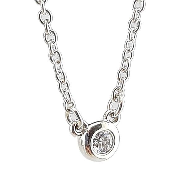 【奢華時尚】TIFFANY 明亮切割圓形鑽石墜飾925純銀項鍊