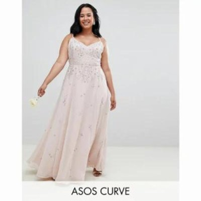 エイソス ワンピース ASOS DESIGN Curve bridesmaids embellished cami maxi dress Blush