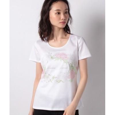 【マダム ジョコンダ】  コットン天竺 ボタニカルフラワーロゴプリントTシャツ レディース ホワイトB 40 MADAM JOCONDE