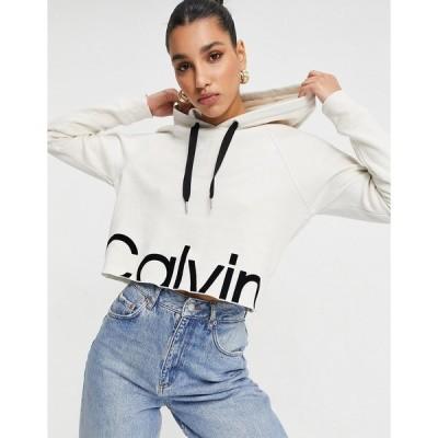 カルバンクライン レディース パーカー・スウェットシャツ アウター Calvin Klein Performance front logo hoodie in white White