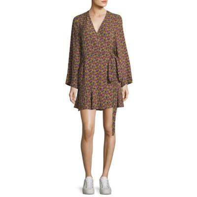 エーエルシー レディース ワンピース トップス Whitney Bell-Sleeve Floral-Print Silk Wrap Dress