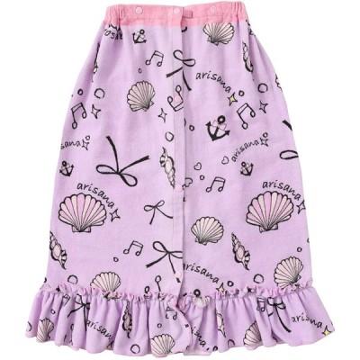 [アリサナ]arisana ラップタオル キッズ 女の子 巻きタオル 子供 貝殻柄 フリル ワンピース風 ラベンダー 70cm丈