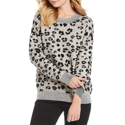 ギブソンアンドラチメール レディース ニット&セーター アウター Leopard Print Jacquard Sweater Ivory/Black