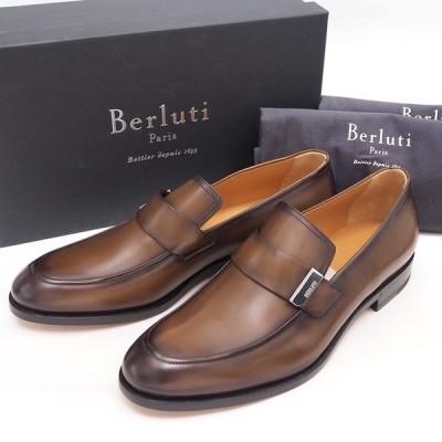 ベルルッティ リフレットカーフレザーローファー メンズビジネスシューズ ブラウン S4914 001 Berluti