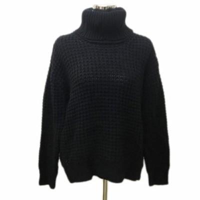 【中古】ルクスルフト Luxluft セーター ニット タートルネック 長袖 38 黒 ブラック レディース