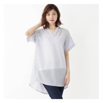 【ハッシュアッシュ/HusHusH】 シアーストライプロングスキッパーシャツ