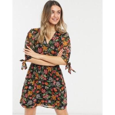 ニュールック ミニドレス レディース New Look tie sleeve button front mini dress in black ditsy pattern エイソス ASOS イエロー 黄