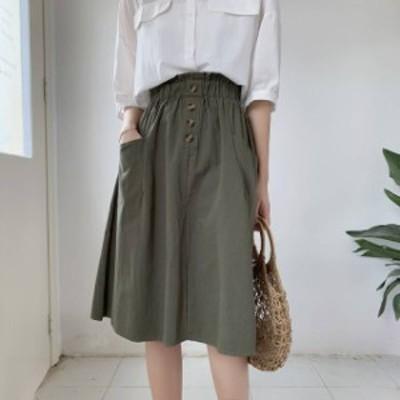 オルチャン 韓国 ファッション スカート フレアスカート 大きいサイズ ひざ丈 ハイウエスト ウエストゴム 無地 ベーシック 大人可愛い