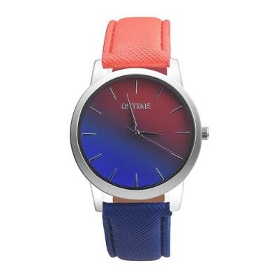 カジュアルファッション レインボーデザイン レザーバンド アナログ合金クォーツ腕時計
