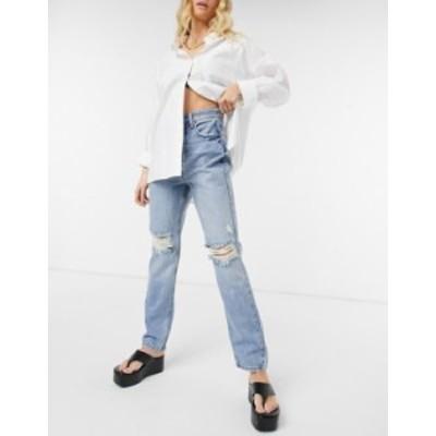 リバーアイランド レディース デニムパンツ ボトムス River Island 90's high rise ripped jeans in light authentic blue Light auth
