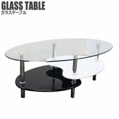 GHOST2 ゴースト2 ガラステーブル (リビングテーブル センター カフェ オーバル ガラス 角型 棚付き  ブラック 黒 ホワイト モダン)