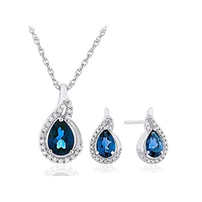 """.925 Sterling Silver Pear Cut Created Blue and White Sapphire Teardrop 18"""""""
