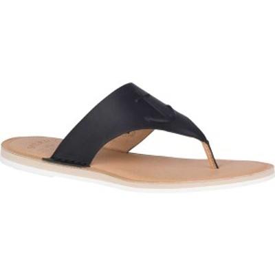 トップサイダー レディース サンダル シューズ Seaport Leather Thong Sandal Black Full Grain Leather