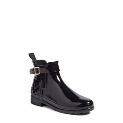 ハンター HUNTER レディース ブーツ チェルシーブーツ シューズ・靴 Original Refined Quilted Gloss Chelsea Waterproof Boot Black