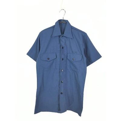 古着 70s 米軍 USN ステンシル ユーティリティー シャツ 半袖 Light Blue M位 古着