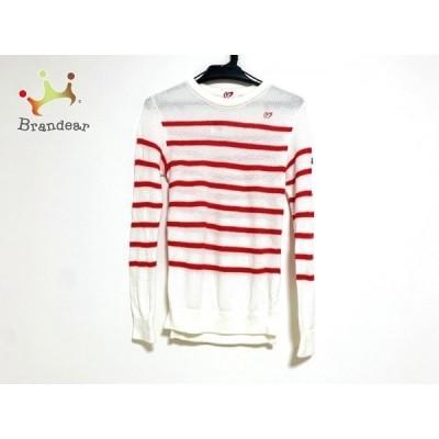 マスターバニーエディション 長袖セーター サイズ1 S レディース 美品 白×コーラルレッド 新着 20200520