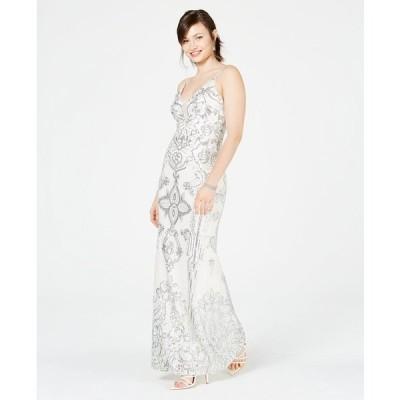 ベッツィ アンド アダム ワンピース トップス レディース Petite Sequin & Mesh Gown Silver/Ivory