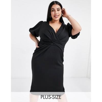 リバーアイランド River Island Plus レディース ボディコンドレス タイト ミドル丈 ワンピース・ドレス twist front bodycon midi dress in black ブラック