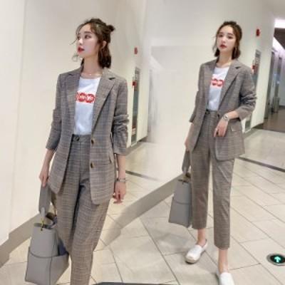 パンツスーツ レディース おしゃれ グレンチェック セットアップ 上下レディース セットアップ スーツ 大きいサイズ オフィス 韓国