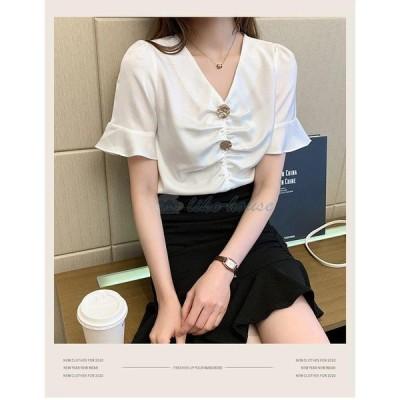 ブラウス レディース きれいめ 40代 春 夏 上品 白 ブラウス シャツ シフォン トップス 半袖 ゆったり オシャレ 韓国風 大人 シャツ 30代 50代