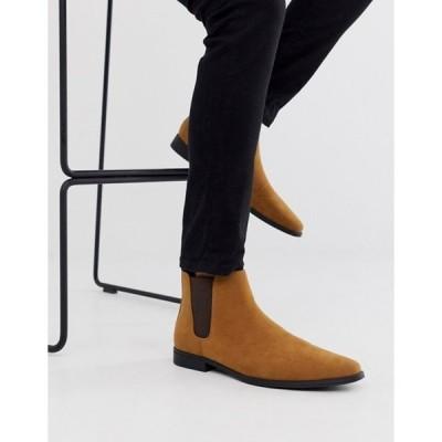 エイソス メンズ ブーツ・レインブーツ シューズ ASOS DESIGN chelsea boots in tan faux suede