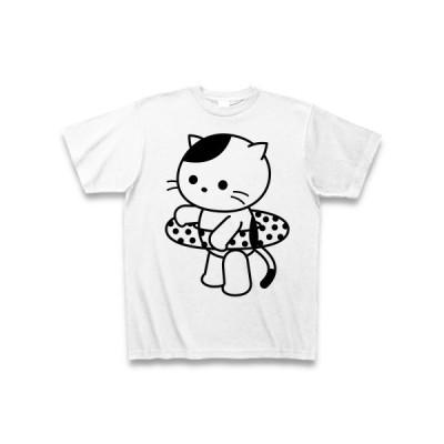 猫と浮き輪 Tシャツ(ホワイト)