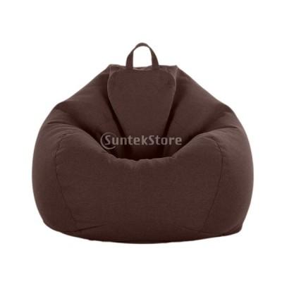 ビーンバッグカバー ぬいぐるみ ストレージバッグ ソフト 全10色 収納袋 多機能 耐久性 - コーヒー