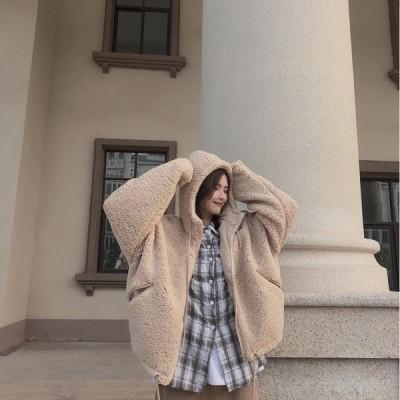 フード付パーカー ジャケット ラムスキン 無地 ゆったり オーバーサイズ 大人可愛い カジュアル フェミニン こなれ感 冬春 お出かけ デート 女子会