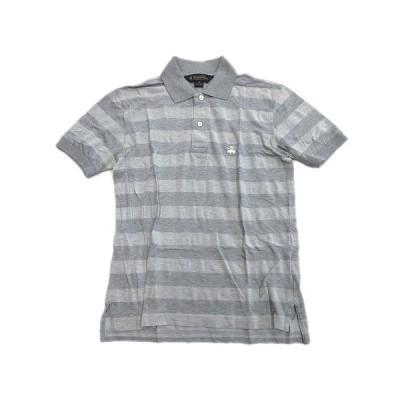 【中古】ブルックスブラザーズ BROOKS BROTHERS ボーダー ロゴ 刺繍 ポロシャツ カットソー 半袖 XS 灰 グレー メンズ♪11 メンズ 【ベクトル 古着】