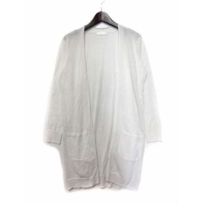 【中古】ドレスキップ DRESKIP ニット カーディガン M 白 ホワイト レーヨン 羽織 ロング レディース