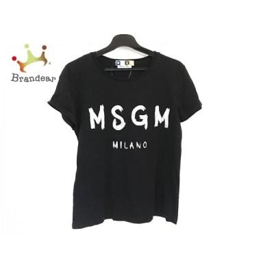 エムエスジィエム MSGM 半袖Tシャツ サイズS レディース - 黒×シルバー クルーネック 新着 20201006