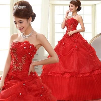 ウェディングドレス パーティードレス ロングドレス wedding dress 花嫁 結婚式 安い 大きいサイズ 柔らかレース レッド 赤