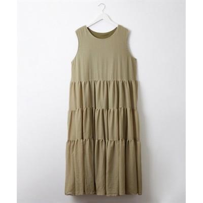 着心地軽やか♪ティアードノースリーブワンピース (ワンピース)Dress