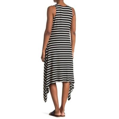 タッシュプラスソフィー レディース ワンピース トップス Striped Sharkbite Midi Dress BLACK/IVORY