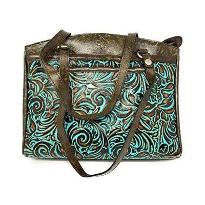 PATRICIA NASH WOMEN'S TOOLED TURQUOISE COLLECTION POPPY LEATHER TOTE HANDBAG PURSE[平行輸入品]