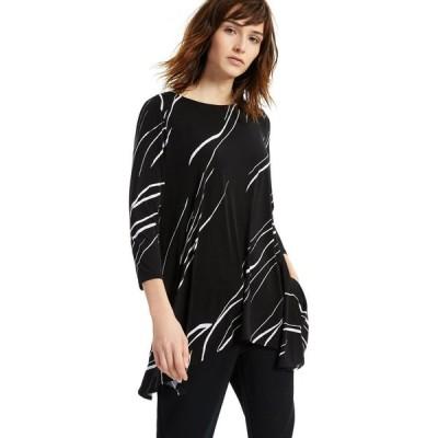 アルファニ Alfani レディース トップス Printed Asymmetrical Swing Knit Top, Regular & Petite Sizes Large Linear Breeze