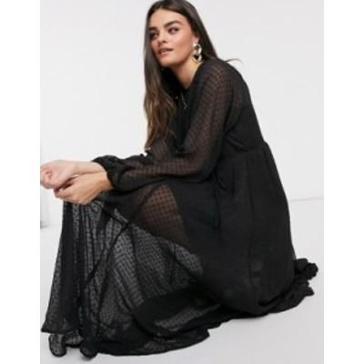 エイソス レディース ワンピース トップス ASOS DESIGN textured mesh trapeze midi dress with bubble sleeves in black Black