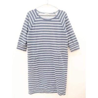 FREE'S MART(フリーズマート)ボーダーワンピース 七分袖 紺/白 レディース A-ランク M