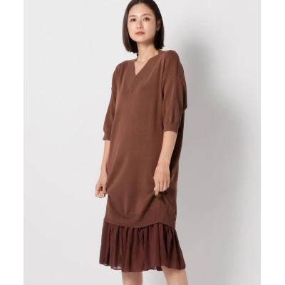【ミューズ リファインド クローズ】 レイヤードニットワンピース レディース ブラウン M MEW'S REFINED CLOTHES