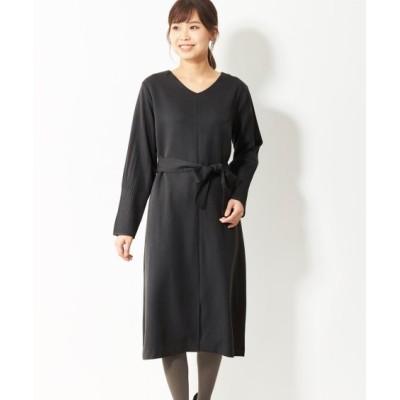 大きいサイズ 袖プリーツリボンベルト付ワンピース(オトナスマイル) ,スマイルランド, ワンピース, plus size dress