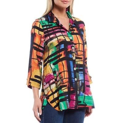 マルチプルズ レディース シャツ トップス Color Block Print Crinkle Woven Side Button Hem Button-Front Shirt